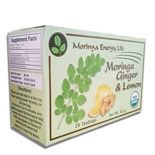MORINGA GINGER LEMON TEA - USDA Organic - Nature´s Most Potent Botanical for Nutrients, Vitamins & Minerals! Boost your Energy and Wellness with this Delicious Moringa Tea