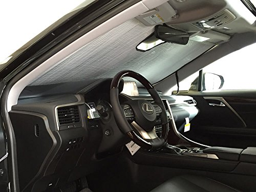 The Original Windshield Sun Shade, Custom-Fit for Lexus RX350 SUV w/Sensor 2016, 2017, 2018, 2019, Silver Series
