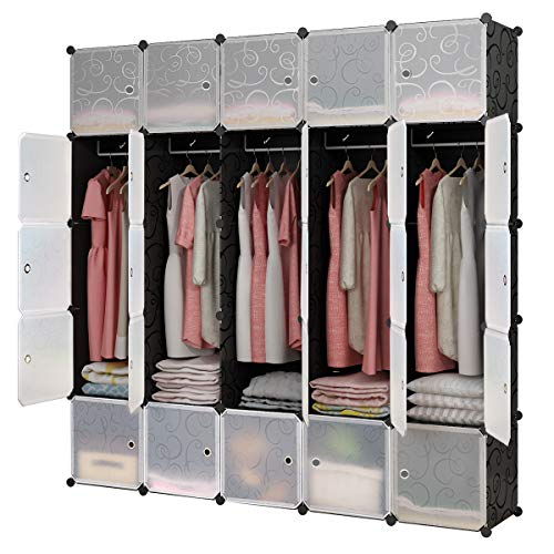 KOUSI Portable Closet Clothes Wardrobe Bedroom Armoire Storage Organizer with Doors, Capacious & Sturdy, Black, 10 Cubes+5 Hanging Sections