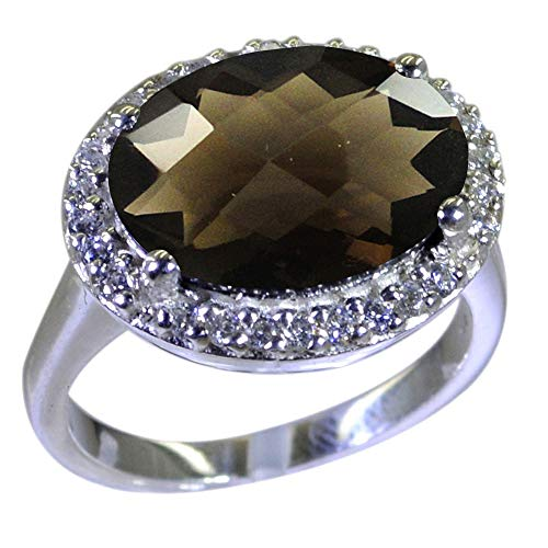 Gemsonclick Choose Your Gemstone Color Oval Natural Silver Halo Wedding Rings for Women Fashion Indian Jewelry Gift (Smoky Ring Faceted Quartz Oval)