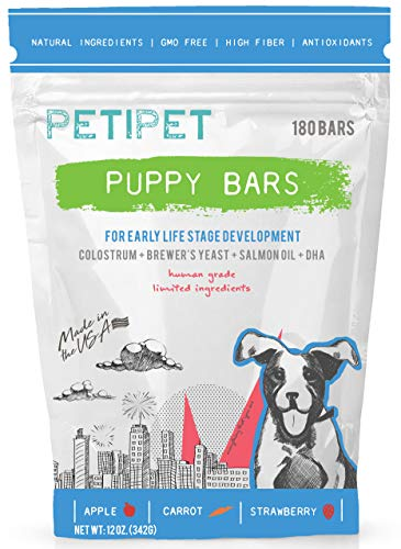 PETIPET Puppy Bars - Early Life Stage Development Human Grade and Plant Based Supplement for Dogs with Colostrum, Brewer
