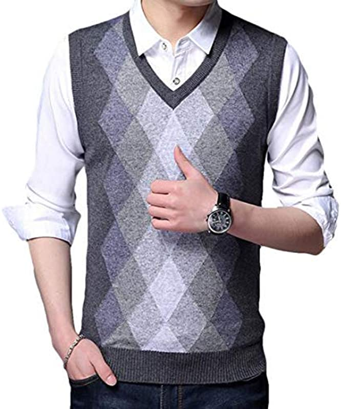 HenShiXin Provide Męskie Pullover Casual Ärmellos Kariert Strickweste Cardigan Sweater Schnell (Farbe: Dunkelblau, Größe: L): Küche & Haushalt