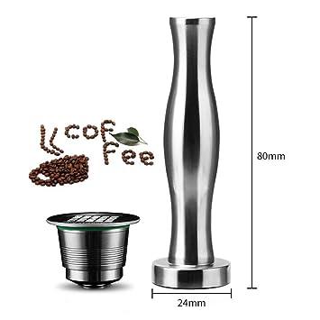 QJiang Reutilizable Acero inoxidable Filtro café metal y Base plana Cofee Tamper Cápsulas reemplazo Cápsulas repuesto