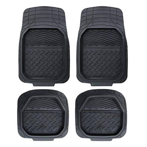 PIC AUTO Car Floor Mats Rubber Heavy Duty All Weather Protection Trimmable Universal for Car SUV Van Trucks (Black, 4 Pieces)