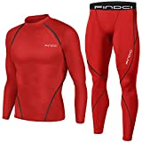 Findci Men Compression Tops Tight Trousers Long Sleeve Shirts Long Pants Suits