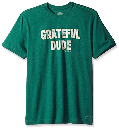 Life is good Men's Crusher Tee Grateful Dude, Heather Forest Green, Large