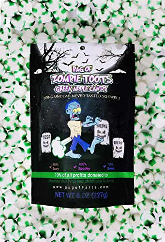 BAG OF FARTS Zombie Candy Funny for All Ages Unique for Friends, Mom, Dad, Girl, Boy Grandson Granddaughter Stocking Stuffer While Elephant Christmas (Zombie Toots Green Apple Candy)