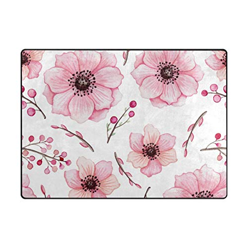 My Daily Watercolor Pink Flowers Berries Area Rug 4