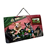 Home of Australian Cattle Dog 4 Dogs Playing Poker Photo Slate Hanging