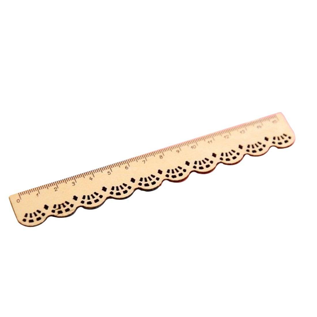 1 règle en dentelle et en bois - fournitures de bureau naturel rongwen
