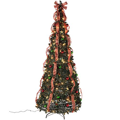 HOLIDAY PEAK Pull-Up Christmas Tree, Pre-Lit and Fully Decorated, 7' (Decorated Ready Christmas Trees All)