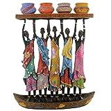 Rockin Gear African Figurine Statue Sculpture Canoe Candelabra 11'' x 13'' Candle Holder Statue