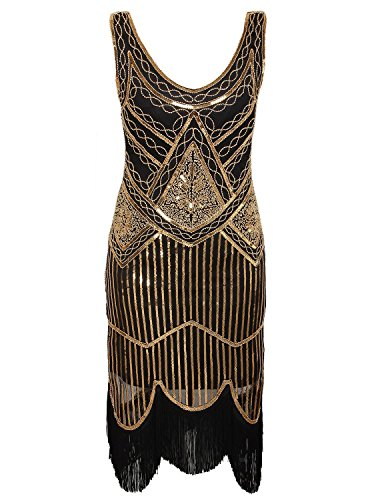 Vijiv Women's 1920s Gastby Inspired Sequined Embellished Fringed Flapper Dress, Black and Gold, -