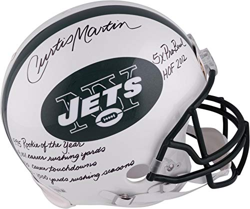 Curtis Martin New York Jets Autographed Authentic Helmet with Multiple Inscriptions - Limited Edition of 28 - Fanatics Authentic Certified