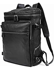 BAIGIO Men Leather Backpack Travel Pack Luggage College School 16 Laptop Bag, Black