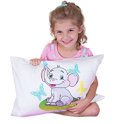 Toddler Pillowcase -100% Cotton-Machine Washable-for 13x18 and 14x19 Travel/Toddler Pillows by kinder Fluff