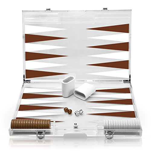 - Rolling 66 18-Inch Lucite Deluxe Backgammon Set (Brown)