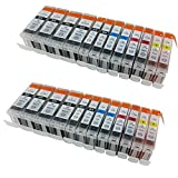 HOTCOLORTM 24-Pack Non-OEM Inkjet Combo for PGI-220 CLI-221 Canon Pixma Canon iP3600 iP4600 iP4700 MP560 MP620 MP640 MX860 MP980 ink inkjet cartridges-8BK/4BK/4C/4M/4Y
