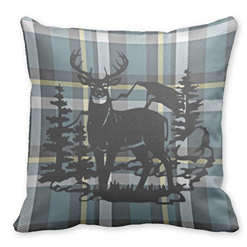 """Price comparison product image Plusone Cowboy Cowgirl Rodeo Checkered Theme Elk Deer Hunting Wildlife Animals Couch Pillow Case 18"""" x 18"""""""