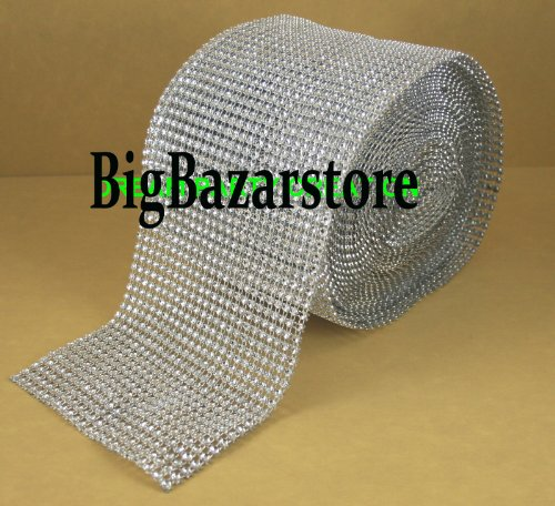"4.75""x10 Yards Silver DIAMOND MESH WRAP RHINESTONE Ribbon (SILVER, 1)"