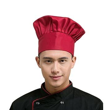 b0899511918ab hunpta Fashion Chef Catering ajustable elástica Kitchen Cook sombrero  hombres Cap rojo Rojo  Amazon.es  Hogar