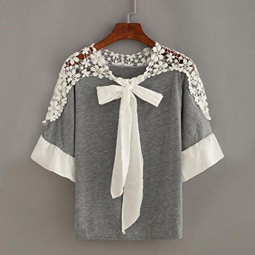 femmes Casual Moonuy blouse manches Tops courtes T dentelle Automne shirt papillon Femmes Patchwork Automne souple shirt Chemisier Noeud Gris TSqnxd