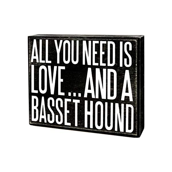 JennyGems - All You Need is Love and a Basset Hound- Wooden Stand Up Box Sign - Basset Hound Gift Series, Basset Hound Moms, Basset Hound Lovers, Shelf Knick Knacks 1
