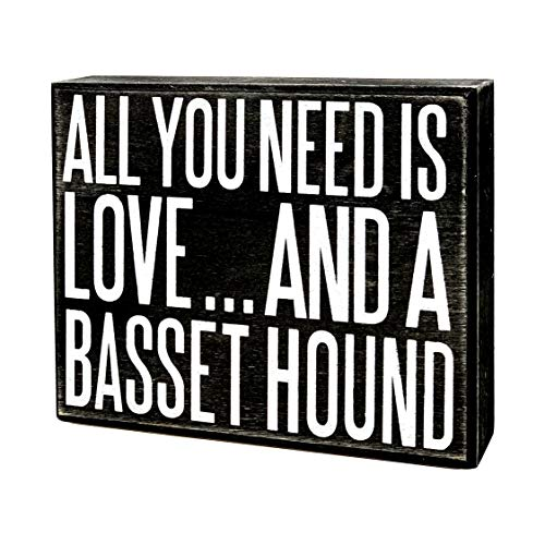 JennyGems - All You Need is Love and a Basset Hound- Wooden Stand Up Box Sign - Basset Hound Gift Series, Basset Hound Moms, Basset Hound Lovers