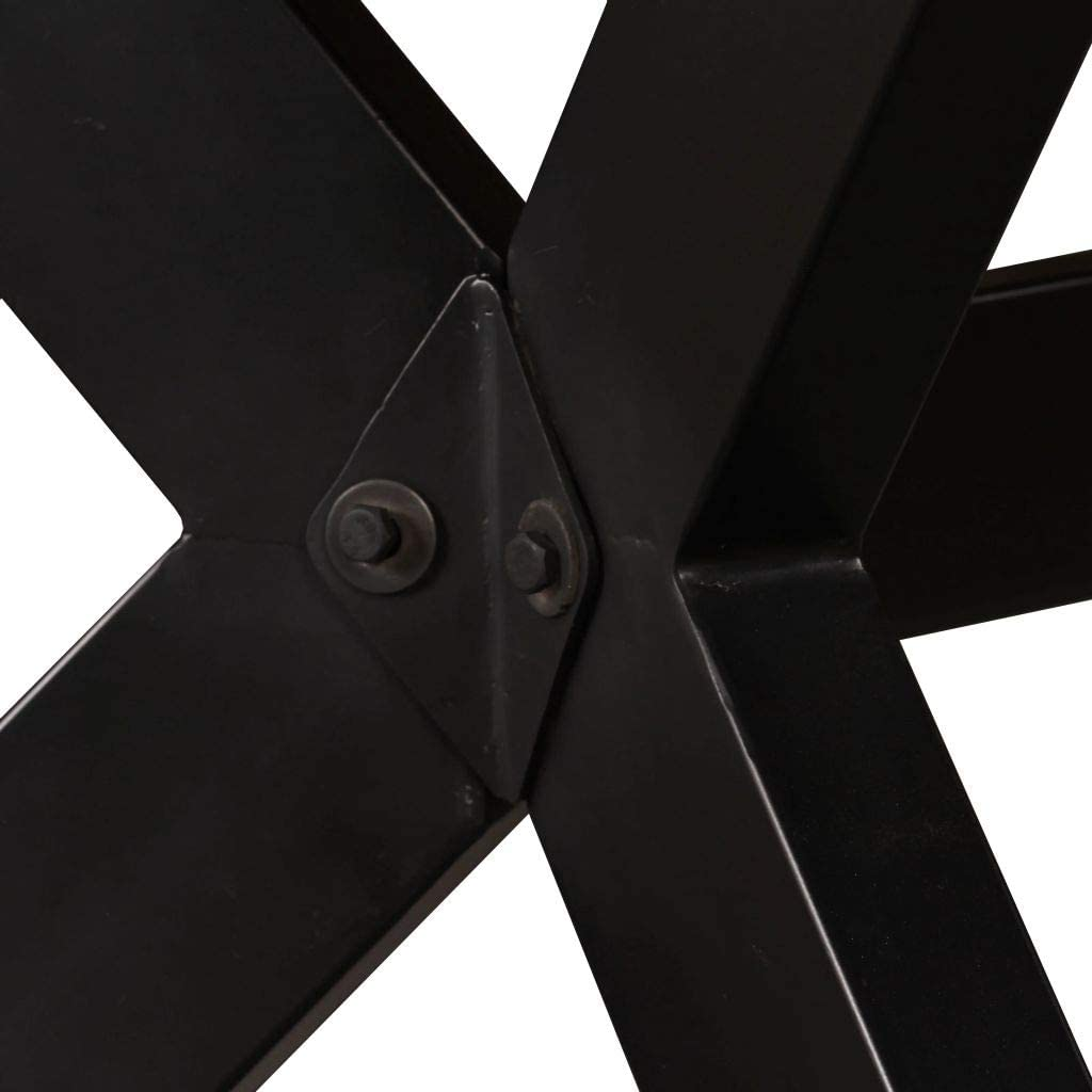 vidaXL Tavolo da Pranzo Rettangolare Robusto Stile Moderno Arredo Sala Cucina Gambe in Acciaio Lucido Legno Massello di Recupero 120x60x75 cm