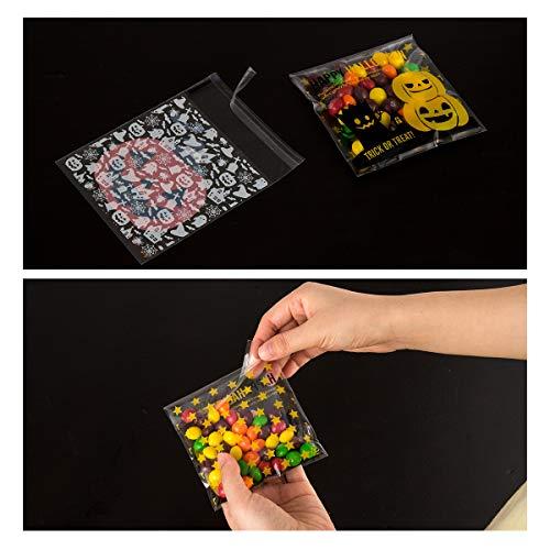 400PCS Halloween Self Adhesive Candy Bags Clear Cellophane Bags 4 Different Style Trick or Treat Bag for Cookie Bakery Biscuit Snacks Dessert Homemade Crafts by Homfshop (Image #2)
