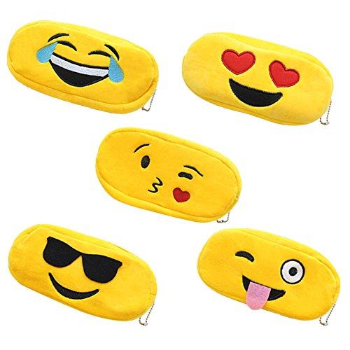 5 pcs Plush Emoji Pencil Case Smile Cosmetic Bag Cion Pen Holder Stationery Pouch Zipper Makeup Storage - Sunglasses Mechanical