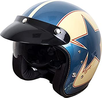 Duchinni D501 Frontal Abierto Retro Casco De Moto azul/rojo - Rojo/Azul,