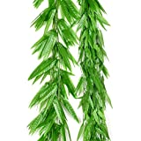 Sunrisee 50pcs Artificial Vines Greenery Garland Fake Silk Willow Rattan Wicker Twig Leaves for Garden Wedding Festival Windowsill Balcony Courtyard Jungle Party Decor