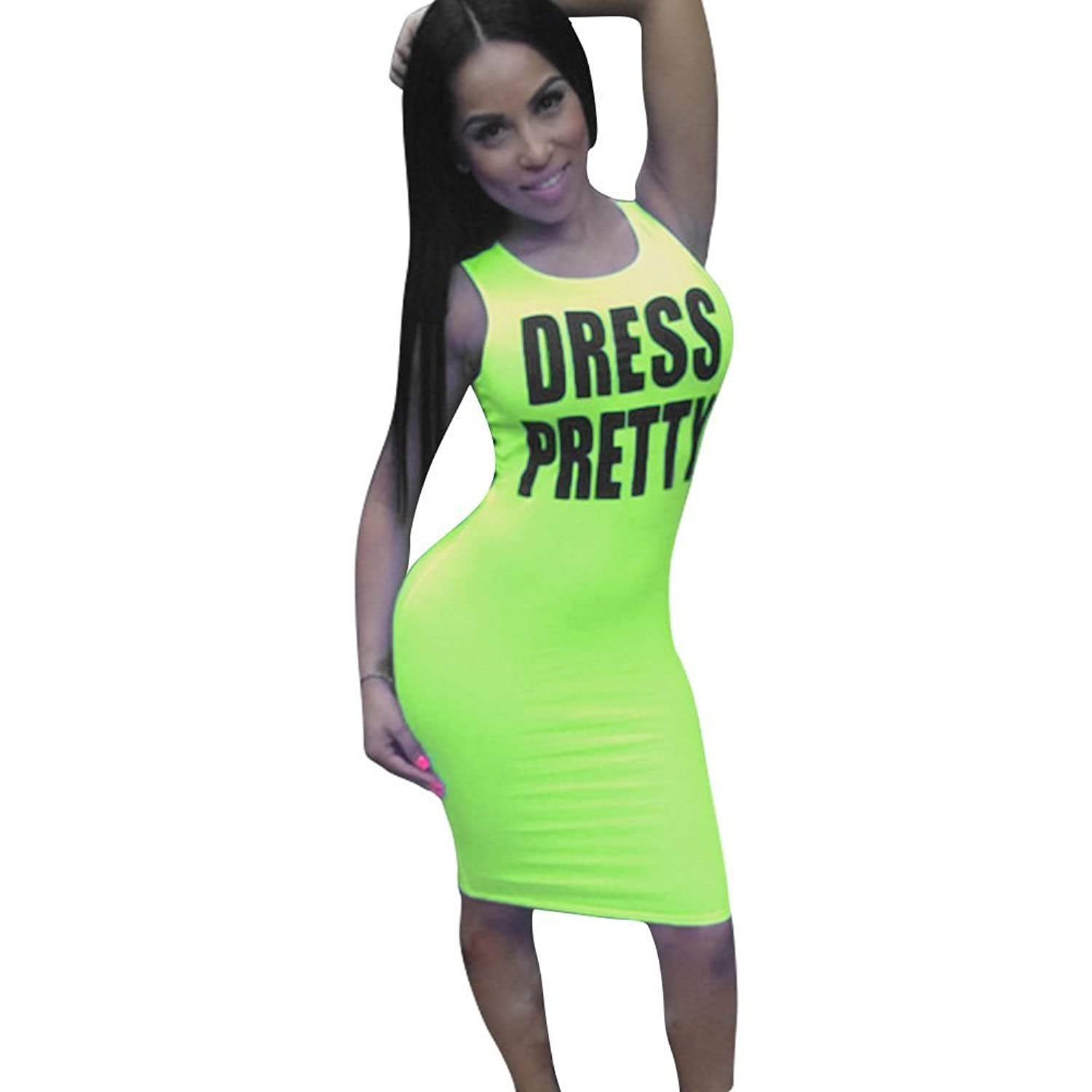 Soly Tech Women Summer Bandage Bodycon Club Evening Party Sleeveless Dresses