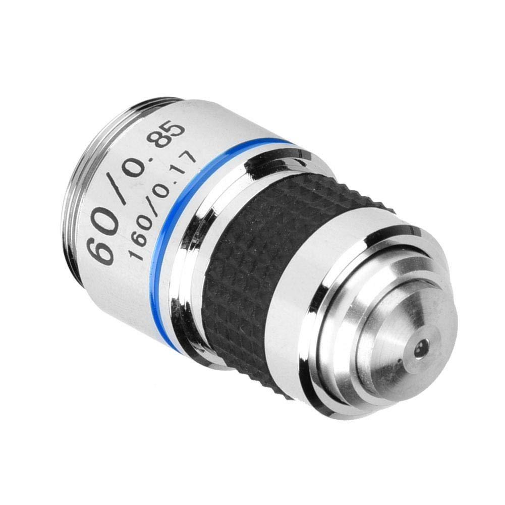 6.3inch Achromatic Objectives Lens 60X Aluminum Alloy Optical Lens Professional Objectives Lens for Biological Microscope 160//0.17 Tube Length 160mm