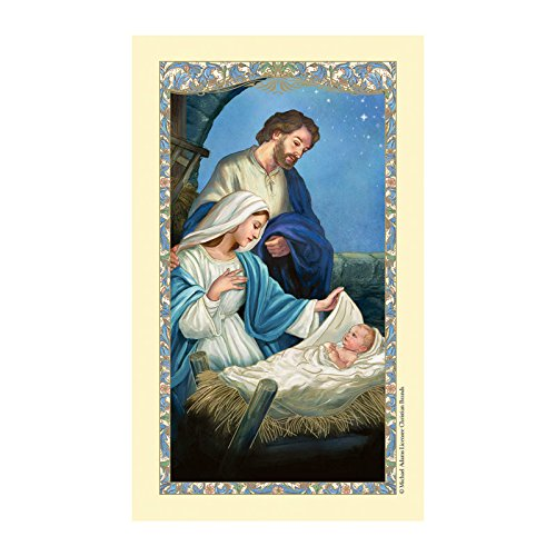 Christmas Nativity Laminated Holy Card with a Christmas Blessing Prayer on the Back (5 pack)