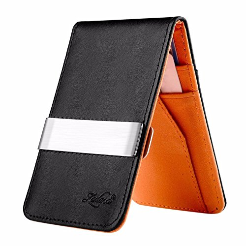 Mens Genuine Leather Silver Money Clip Slim Wallets Black ID Credit Card Holder (BLACK / ORANGE) from Unbranded*