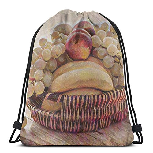 OWZI Several Fruits In Brown Wicker Basket Personalized Classic Portable Drawstring Backpack,14.2