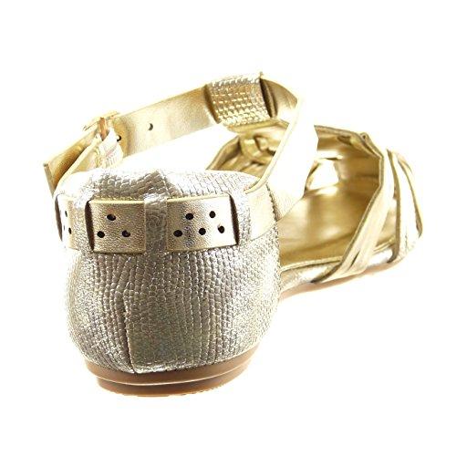 Sopily - Scarpe da Moda sandali gladiatore cinturino alla caviglia donna tanga lucide Tacco a blocco 1 CM - Oro