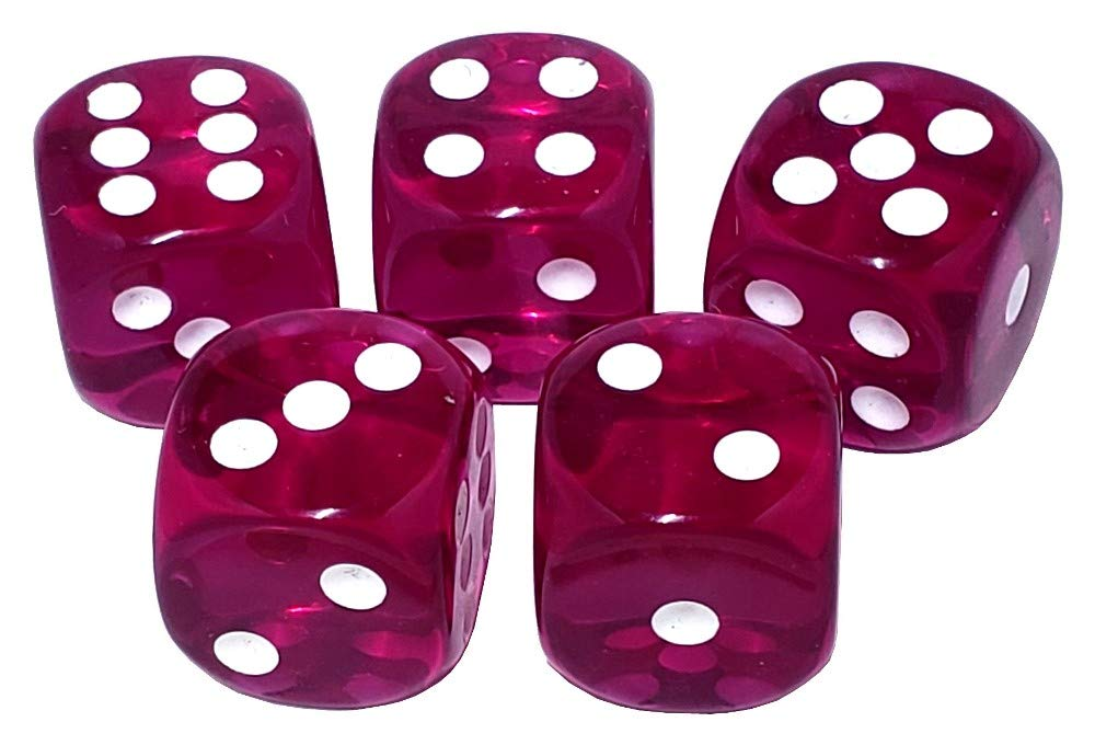 Cyber-Deals Set of 16mm Deluxe High Qualilty Acrylic 6-Sided Round Cornered Transparent Dice with Black Velvet Cloth Pouch Bag 5
