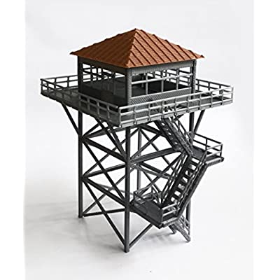 Outland Models Railway Scenery Watchtower/Lookout Tower (Grey) HO Scale 1:87: Toys & Games