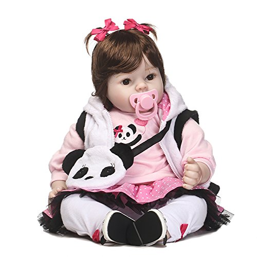 Nicery Reborn Baby Doll Soft Simulation Silicone Vinyl 20inch 50cm Magnetic Mouth Lifelike Vivid Boy Girl Toy Panda Clothes RD50C011