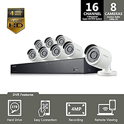 SNK-D5081 - Samsung 16 Channel 4 Megapixel 4MP Super HD NVR POE 3TB HDD Security Camera System by Samsung
