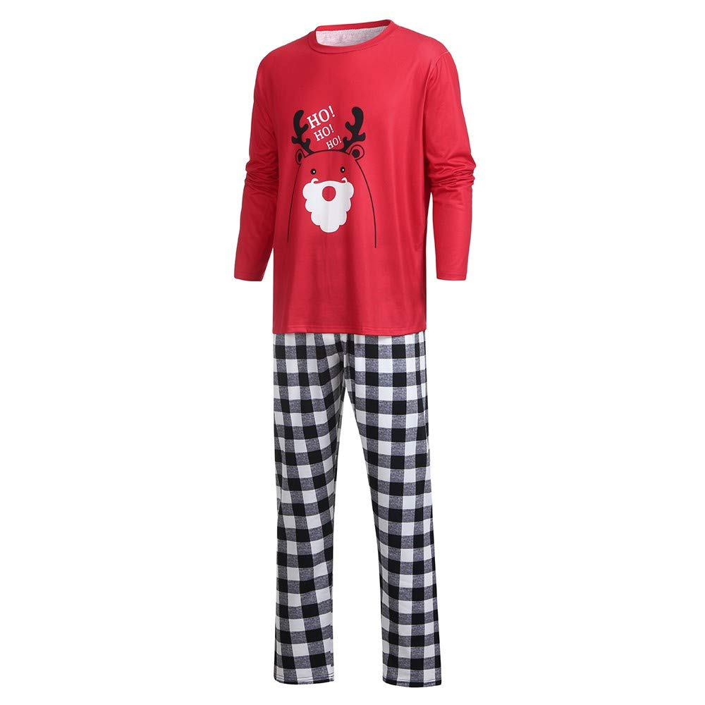 2PCS Christmas Children Cartoon Letter Deer Top+Pants Family Clothes Pajamas