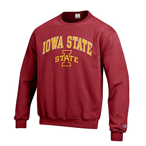 Elite Fan Shop NCAA Iowa State Cyclones Men's Team Color Crewneck Sweatshirt, Garnet, Medium