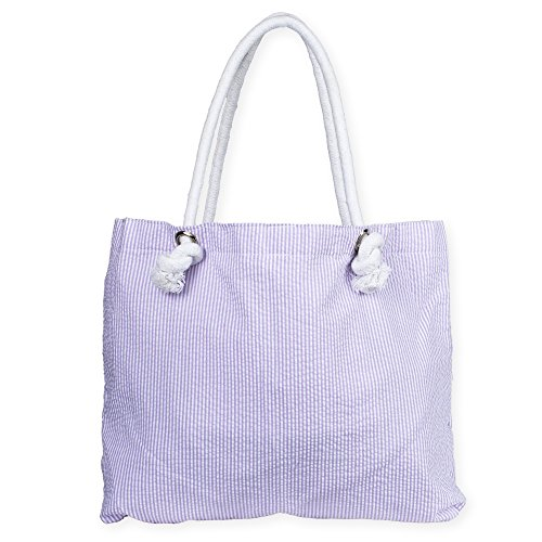Rope Handle Inside Lined Everything Bag (Lilac Seersucker) by Mint