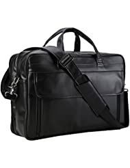Polare Mens Real Leather Professional 17.7 Briefcase Shoulder Messenger Business Bag