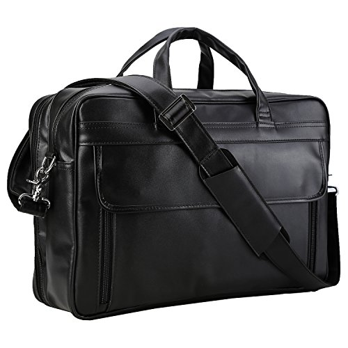Polare Men's Real Leather Professional 17.7'' Briefcase Shoulder Messenger Business Bag by Polare