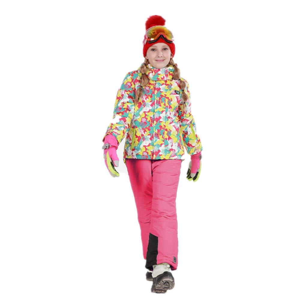 スキーウェア 女の子暖かい防風防水スノーシューズフード付きスキージャケットパンツ2個セット 耐性ジャケット (色 : 黄+ピンク, サイズ : 158/164)
