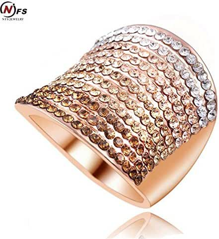 GemMart Jewelry Gradient Austrian Crystal Engagement Rings/Promise Ring Rose Gold Plated Charm Jewelry Ring aneis